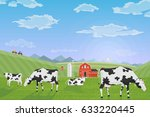 Milk Farm. A Herd Of Cows Graz...