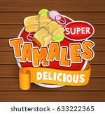 tamales delicious logo and food ... | Shutterstock .eps vector #633222365