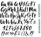 hand drawn dry brush font.... | Shutterstock .eps vector #633233591