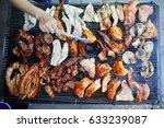 crispy grilled pork with skin....   Shutterstock . vector #633239087