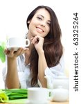 beautiful woman  in cafe over... | Shutterstock . vector #63325264