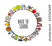 back to school set supplies icon | Shutterstock .eps vector #633262649