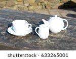 tea pot tea cup and saucer plus ...   Shutterstock . vector #633265001