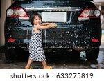 cute asian little girl washing...   Shutterstock . vector #633275819