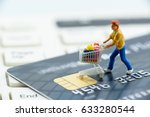 miniature figurine   a shopper... | Shutterstock . vector #633280544