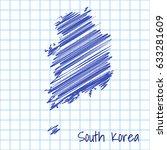 map of south korea  blue sketch ... | Shutterstock .eps vector #633281609