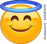 smiling face with angel halo... | Shutterstock .eps vector #633283259