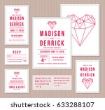 wedding invitation design set... | Shutterstock .eps vector #633288107