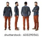 adult men set gesture standing... | Shutterstock . vector #633290561