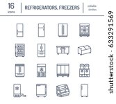 refrigerators flat line icons.... | Shutterstock .eps vector #633291569