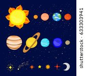 set of colorful cartoon planets ... | Shutterstock .eps vector #633303941
