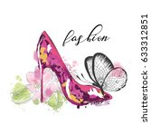beautiful card with high heel... | Shutterstock .eps vector #633312851
