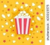 popcorn popping explosion. red... | Shutterstock . vector #633315575