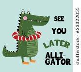 alligator illustration vector... | Shutterstock .eps vector #633322055