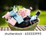 beer bottles in a basket  with ... | Shutterstock . vector #633333995