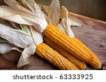 Still Life Autumn concept image with corn cobs - stock photo