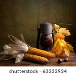 Still Life Autumn concept image with vegetables and old lamp - stock photo