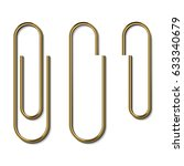 Metal Gold Paperclips Isolated...