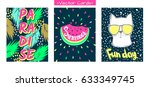 set summer vector cards.trendy... | Shutterstock .eps vector #633349745