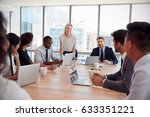 businesswoman stands to address ... | Shutterstock . vector #633351221