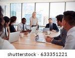 businesswoman stands to address ... | Shutterstock . vector #633351221