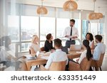businessman leads meeting... | Shutterstock . vector #633351449