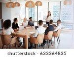 businesswoman stands to address ... | Shutterstock . vector #633364835