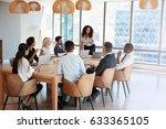 businesswoman stands to address ... | Shutterstock . vector #633365105