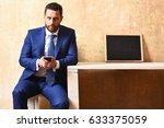 job interview  texting to... | Shutterstock . vector #633375059
