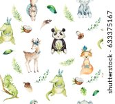 Stock photo baby animals nursery isolated seamless pattern watercolor boho tropical drawing child tropical 633375167