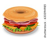 american bagel  illustration of ... | Shutterstock .eps vector #633394985