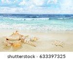 view on sandy beach.   Shutterstock . vector #633397325
