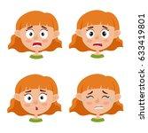 little red haired girl scared... | Shutterstock .eps vector #633419801