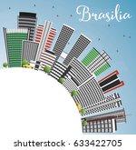 brasilia skyline with gray...   Shutterstock .eps vector #633422705