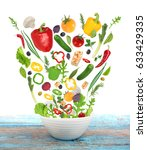 set of fresh vegetables... | Shutterstock . vector #633429335