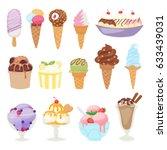 set of different ice cream... | Shutterstock .eps vector #633439031