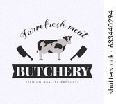 set of butchery logo templates. ... | Shutterstock . vector #633440294