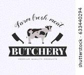 set of butchery logo templates. ... | Shutterstock . vector #633440294