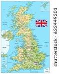 united kingdom physical map.... | Shutterstock .eps vector #633449201