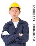 young worker in uniform...   Shutterstock . vector #633458909