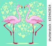 vector pink flamingo bird... | Shutterstock .eps vector #633463814