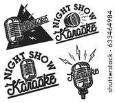 vintage karaoke emblems | Shutterstock .eps vector #633464984