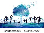 watercolor nature tree and... | Shutterstock . vector #633468929