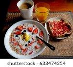 healthy breakfast bowl of milk... | Shutterstock . vector #633474254