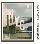 photo print brooklyn bridge   ... | Shutterstock . vector #633475499