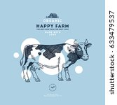 farm cow design template. cow... | Shutterstock .eps vector #633479537