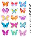 set of cartoon butterflies.... | Shutterstock .eps vector #633485645