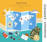 flat design  travel planner ... | Shutterstock .eps vector #633494315