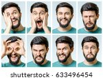 set of young man's portraits...   Shutterstock . vector #633496454