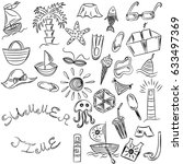 summer time. hand drawings of... | Shutterstock .eps vector #633497369